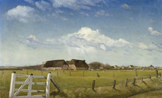 "L.A. Ring, ""Fenced-in Pastures by a Farm with a Stork's Nest on the Roof, Skærbæk,"" 1903"