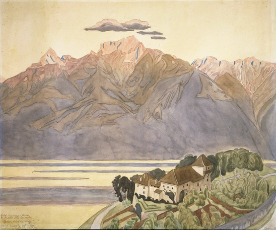 "J.F. Willumsen, ""The Mountain on the Other Side of the Lake is Colored Red by the Sun's Rays,"" 1901"